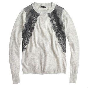 J. Crew Gray Black Lace Panel Wool Sweater Top